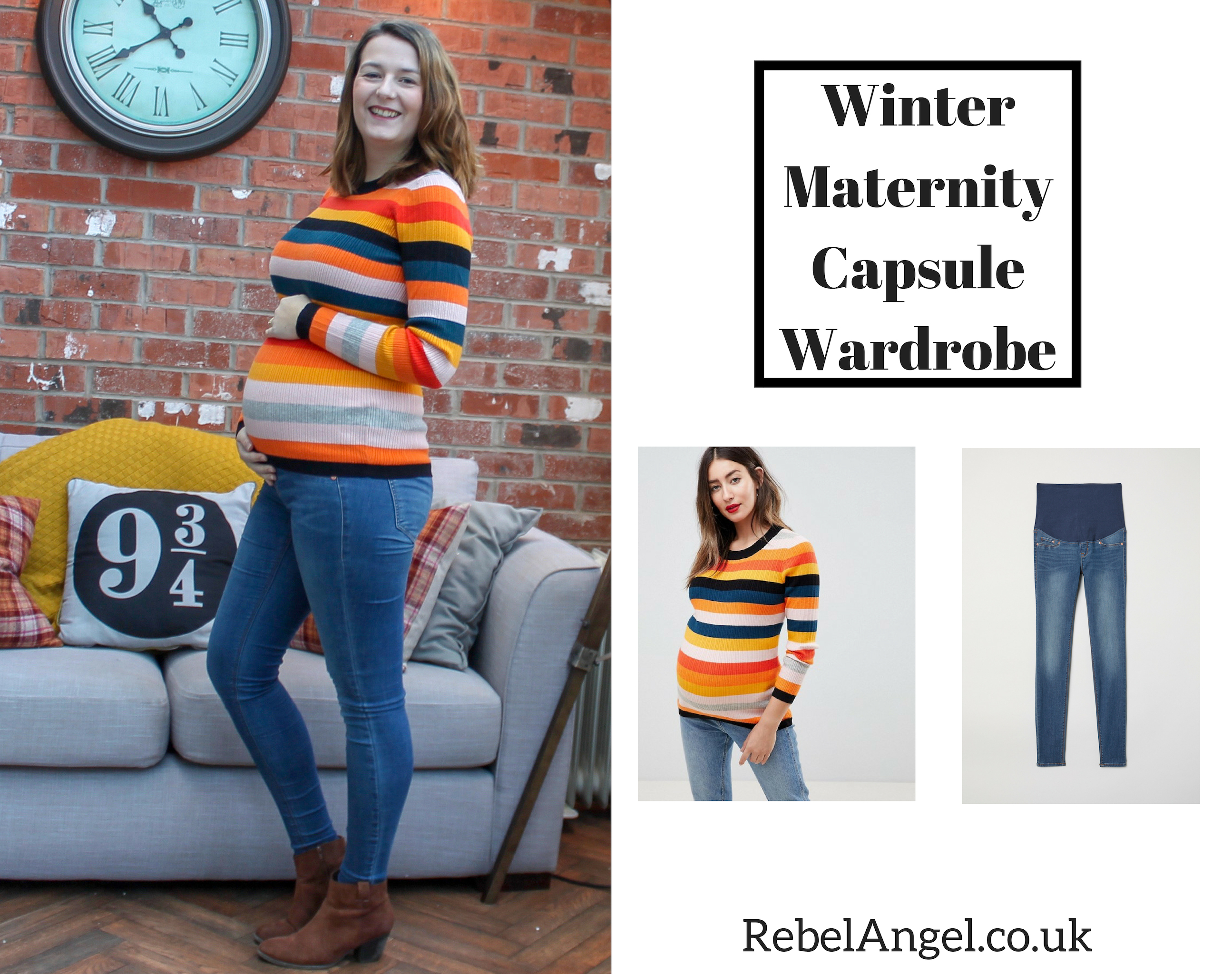 Winter Maternity Capsule Wardrobe - striped jumper and jeans
