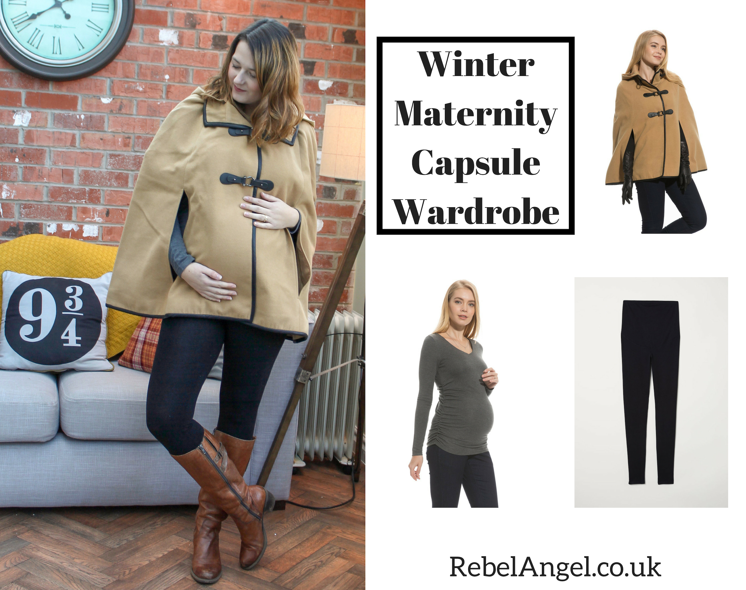 Winter Maternity Capsule Wardrobe outfit - cape coat with leggings
