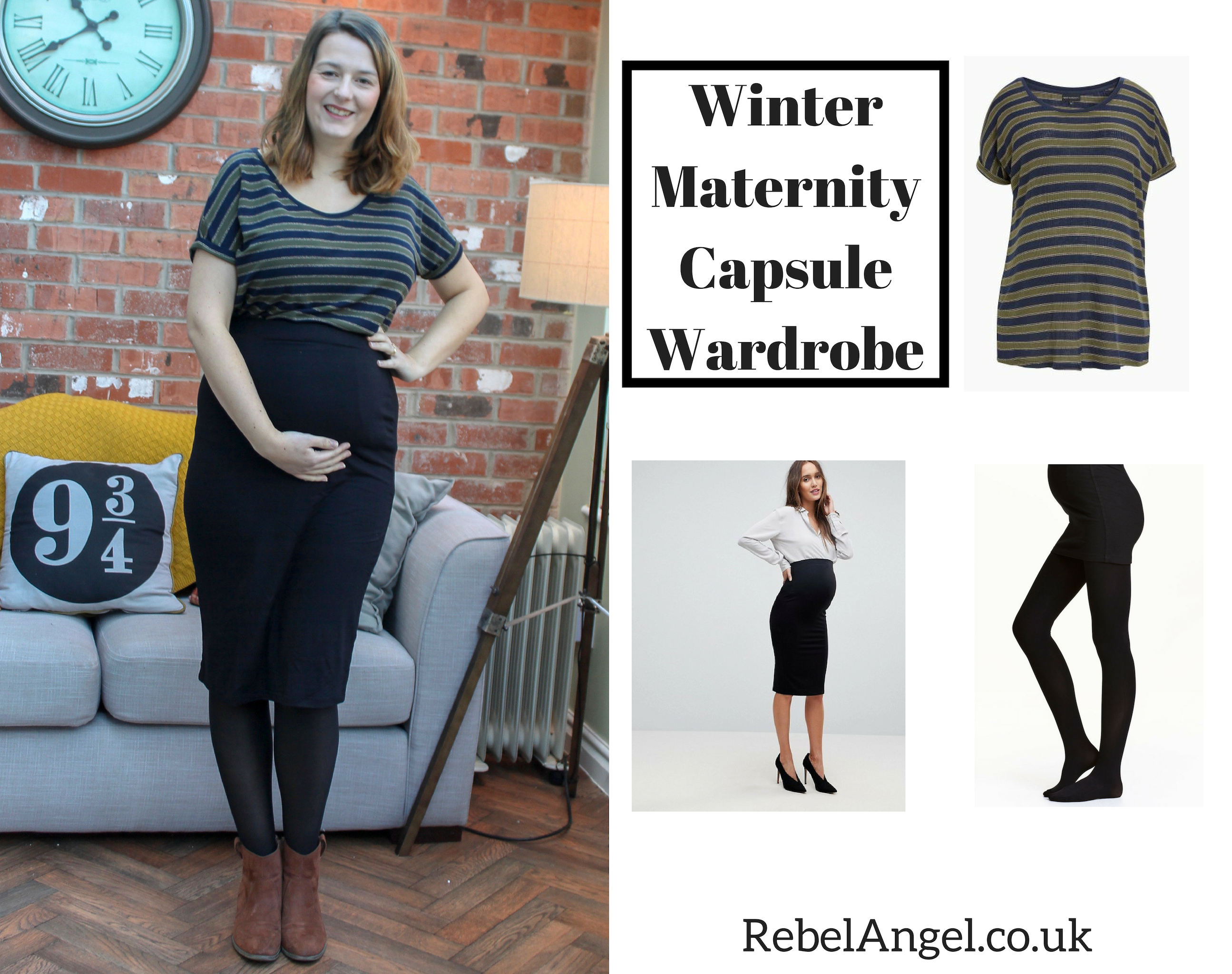 Winter Maternity Capsule Wardrobe outfit with striped top and pencil skirt