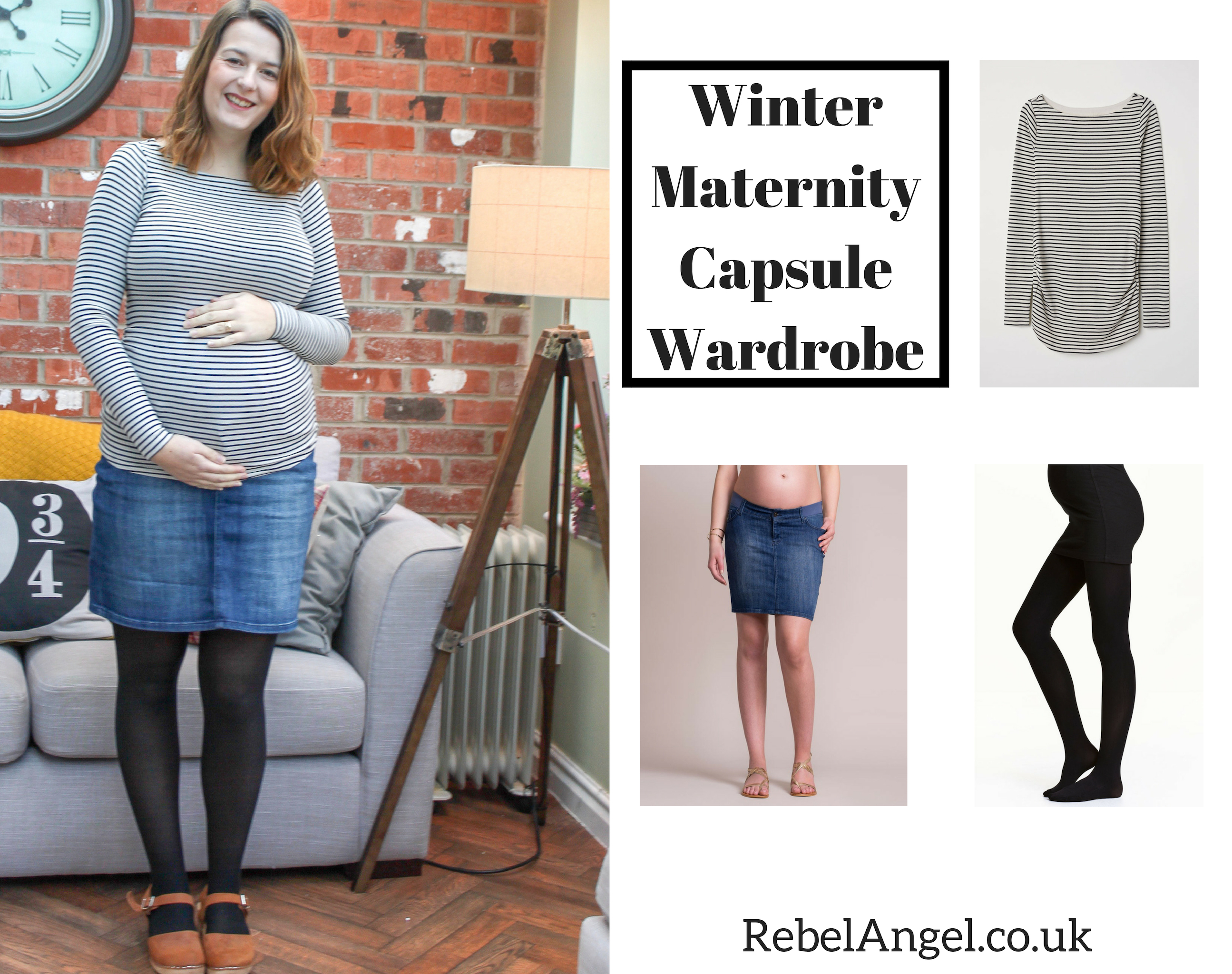 Winter Maternity Capsule Wardrobe - striped top and denim skirt