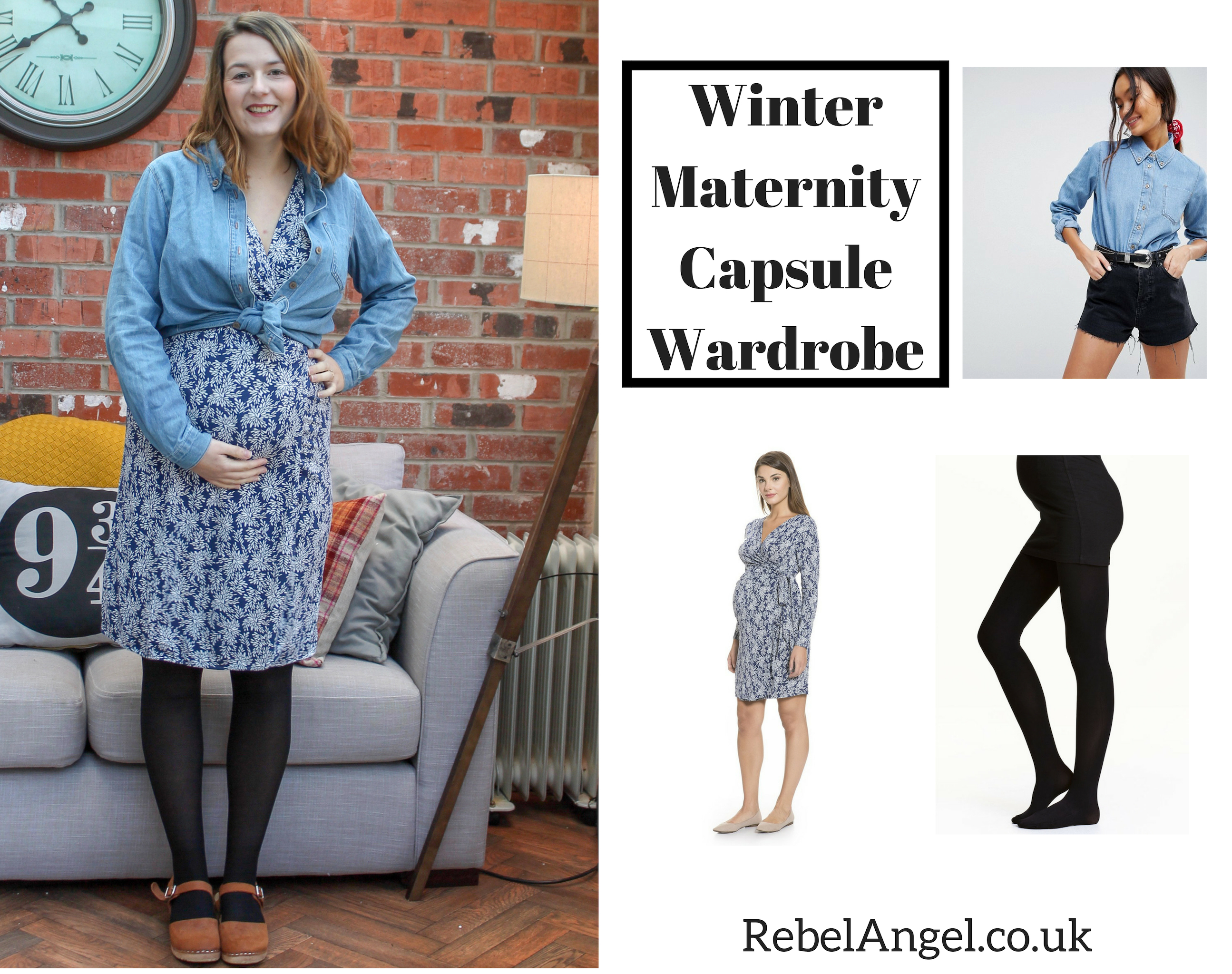 Winter Maternity Capsule Wardrobe - denim shirt & wrap dress