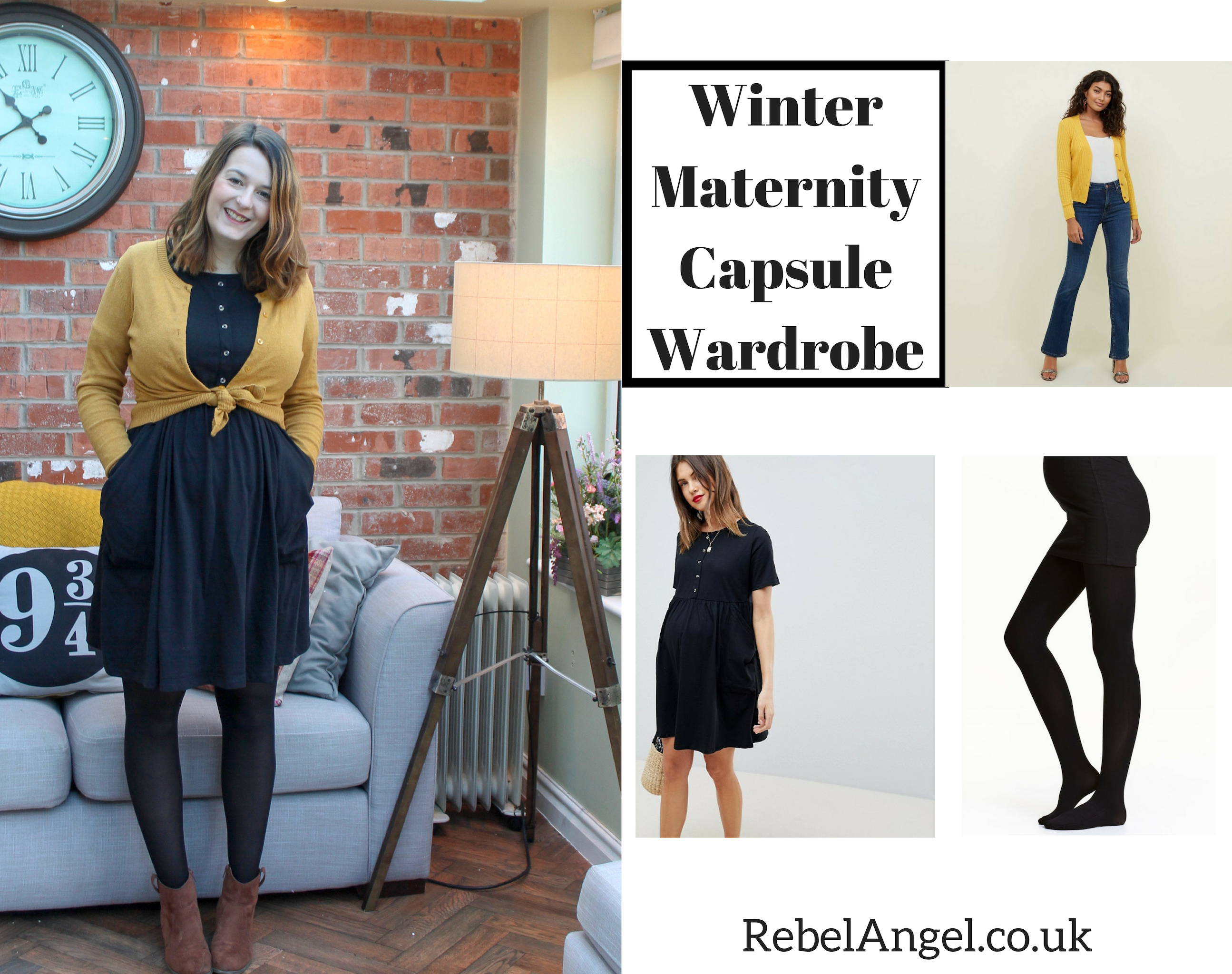 Winter Maternity Capsule Wardrobe outfit with black maternity dress & mustard cardigan
