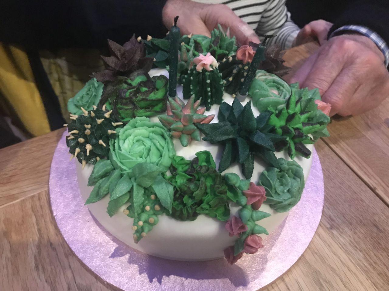 Cactus succulent birthday cake design