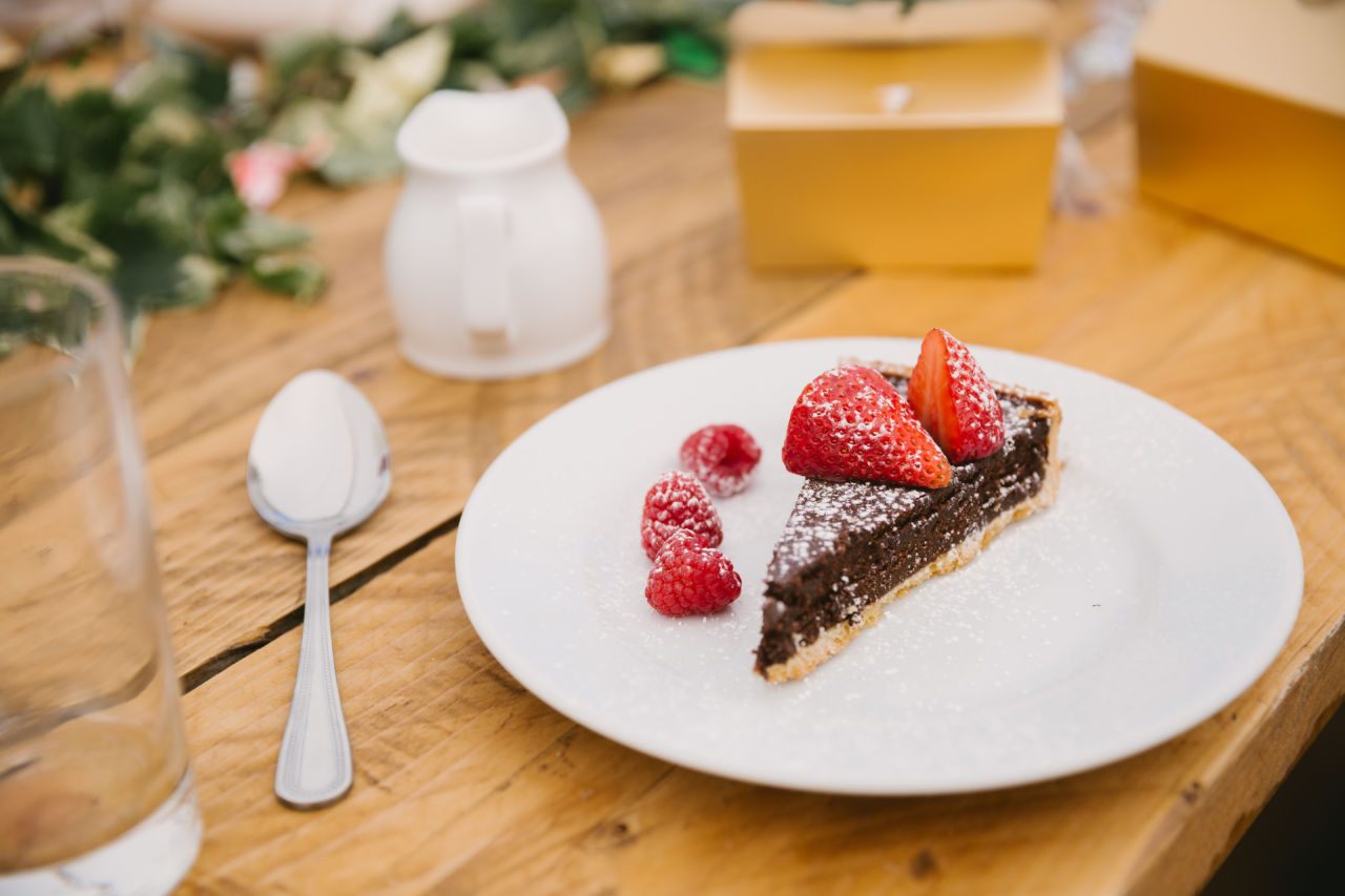 Harrogate Food & Drink Co wedding catering review - Newburgh Priory wedding North Yorkshire - chocolate tart