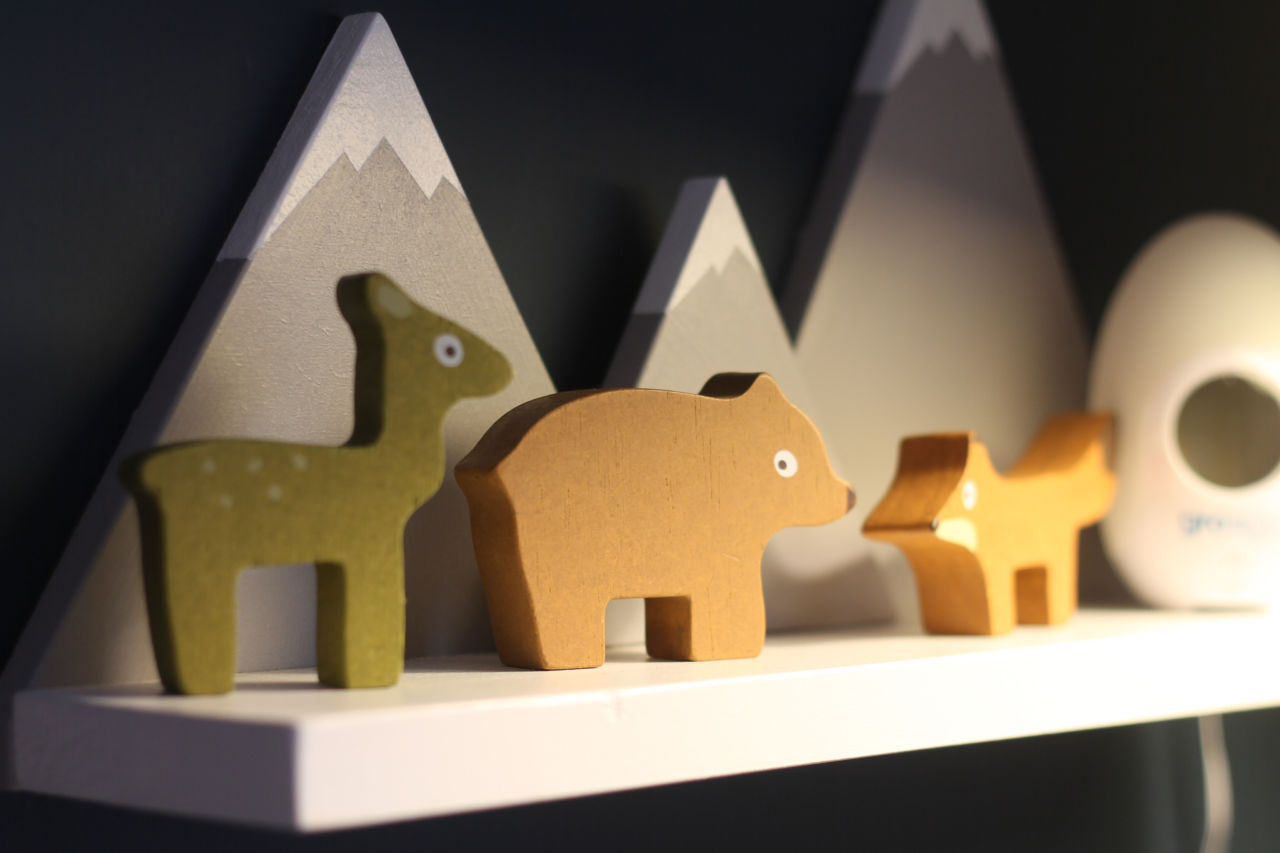Decorating a woodland nursery - wooden forest animals