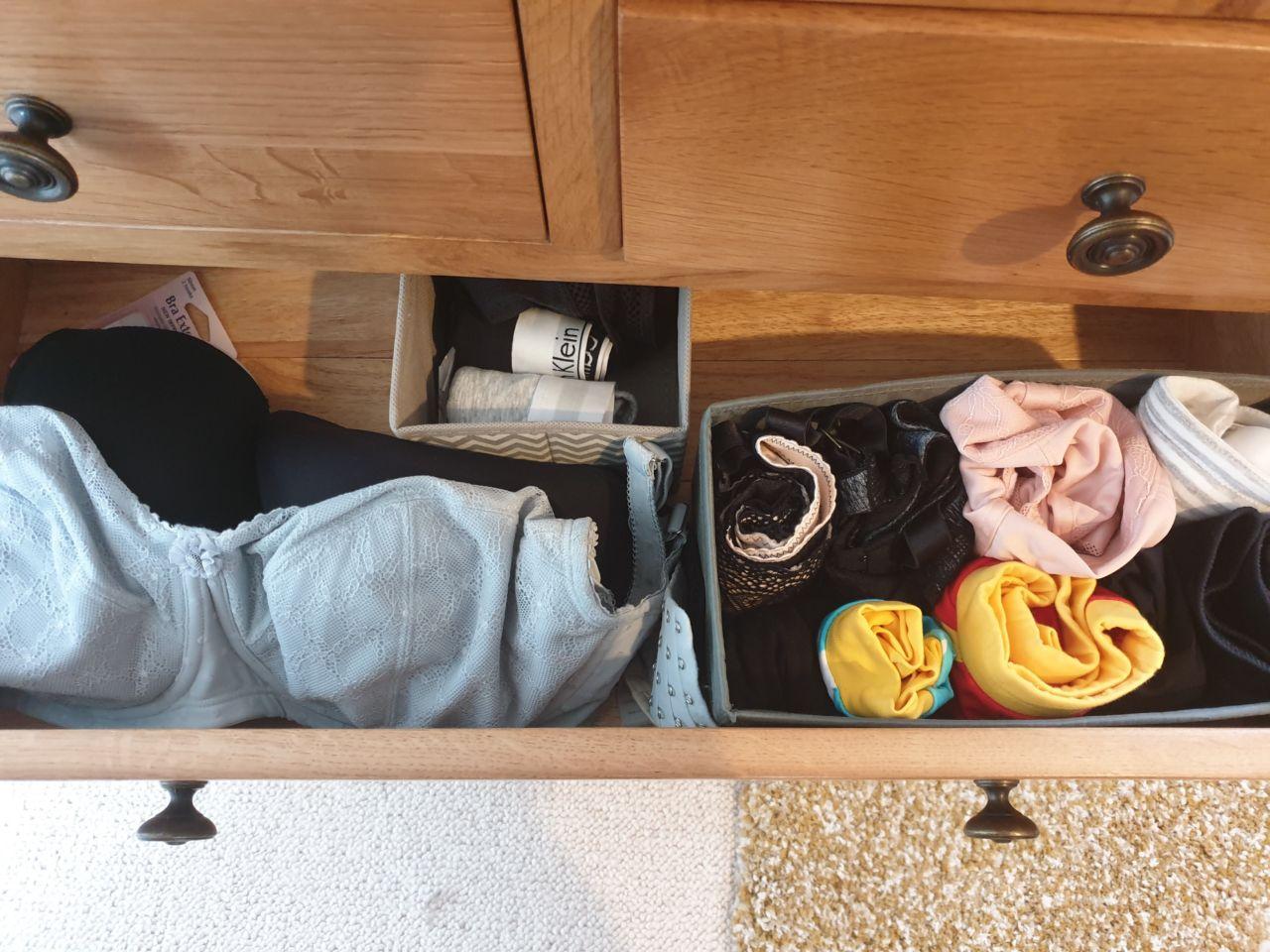 Lingerie drawer organisation
