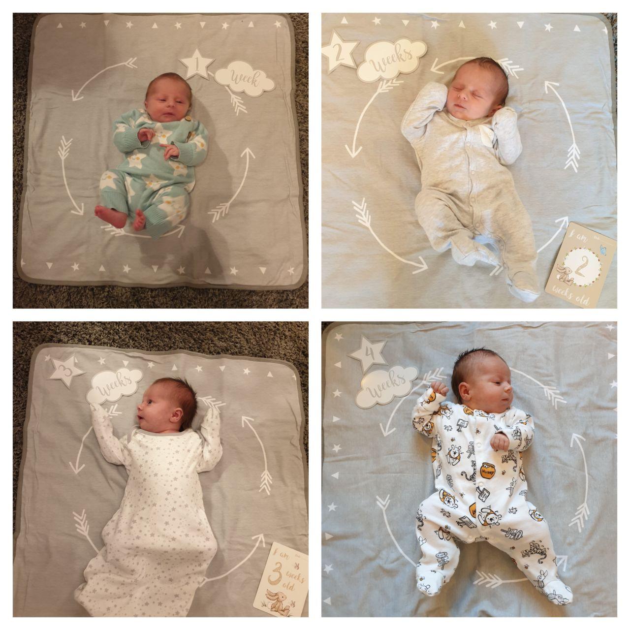 Emilia Jane weeks 1-4 milestone photos
