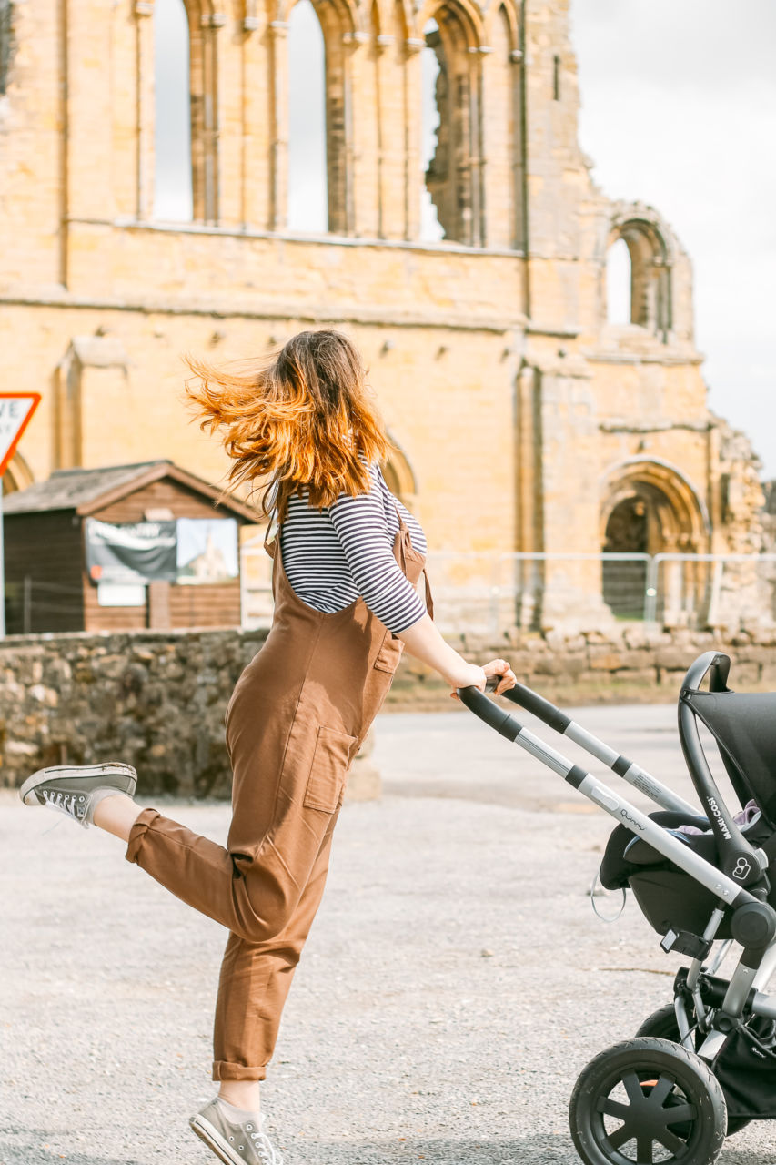 Lucy & Yak dungarees for breastfeeding at Byland Abbey