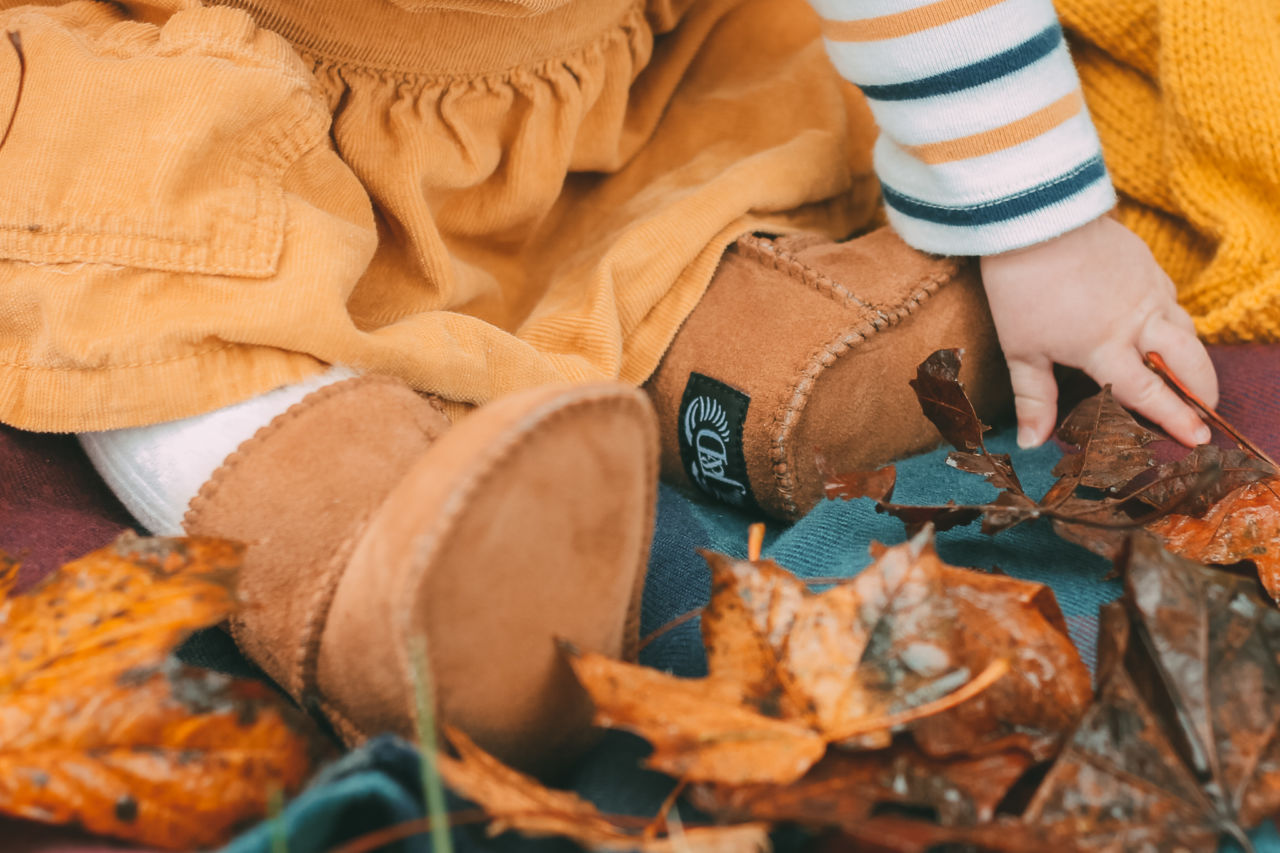 Emmy's first autumn boots - sheepskin booties by Jacobs & Dalton