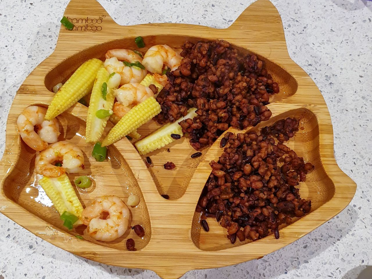 Baby led weaning meal - lentils, prawns and baby corn